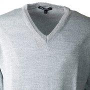 Aqualaguna - Maglione scollo a V in lana Merinos pettinata - dettaglio fronte