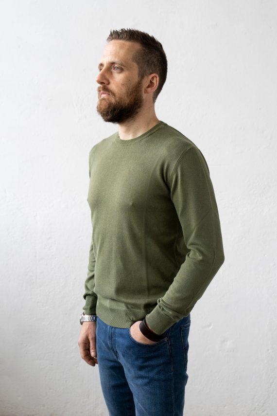 Aqualaguna - Maglione verde militare il girocollo