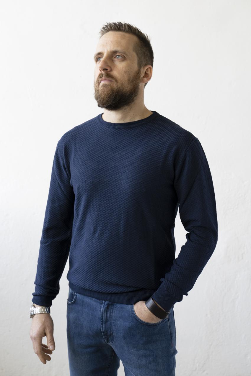 maglia mezza stagione in cotone uomo blu